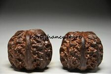 A PAIR OF CHINESE AGARWOOD WOOD HAND BALL , FINE CARVING STATUE