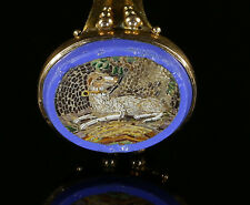 ANTIQUE VICTORIAN MICRO MOSAIC GREYHOUND  DOG GOLD RING
