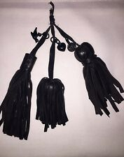 Juicy Couture Black Leather Fringe Tassel Purse Charms Key Ring Holder Accessory