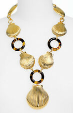 """NEW $365 Authentic Tory Burch Sheldon Necklace Gold Sea Shells Tortoise 25"""""""