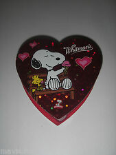 "Whitman's Valentine Container w Peanuts Snoopy Woodstock Heart-shaped 4""."