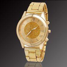 Reloj De Mujer Pulsera Barato Dorado Brillantes Esfera Chica Metal Watch Woman