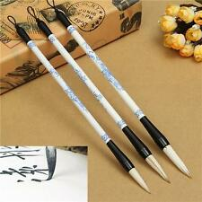3Pcs Brush Pen Blue And White Picture Chinese Japanese Calligraphy