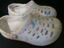 AirWalk White Rainbow Multi-Color Shoes Easy On Rubber Clogs Kids Size 121/2-13