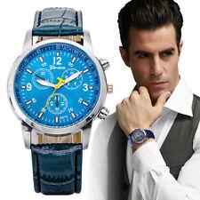 Luxury Faux Crocodile Leather Mens Watches Quartz Analog Watch Watches Blue UK