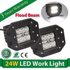 2X 4inch 24W Square CREE LED Cube Pod Work Light Flush Mount Offroad Truck Jeep