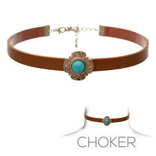 New Boho Turquoise Charm Brown Leather Choker Necklace Women Fashion Jewelry