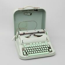 VTG Hermes 3000 Portable Typewriter w/ Case Swiss Sea Foam Green Working
