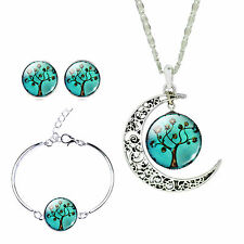 Silver Jewelry Set Tree Glass Cabochon Moon Pendant Necklace Bracelet Earrings