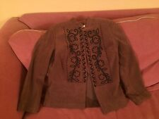 Coldwater Creek Women's Brown Black Suede-Like Jacket Size 6P 3/4 Sleeves Lined