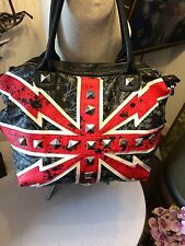 Abbey Dawn by Avril Levigne handbag Union Jack large tote silver studs vegan