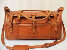 Vintage XXL Leder Reisetasche Handtasche Weekender Tasche Koffer Gepäck Henkel