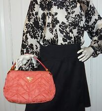 Authentic Orange Coral Quilted Prada Handbag with Dustbag & Authenticity Cards