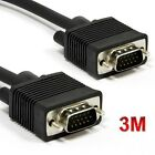 Premium SVGA VGA Cable 15pin Lead PC Laptop TV Monitor LCD Cord Male to Male 3M