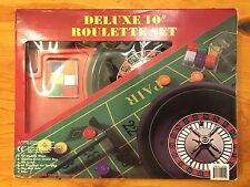 """*Unused Deluxe 10"""" Roulette Set Game with Layout Chips Rack Wheel & Balls"""