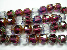 25 Amethyst Crystal Mix Firepolished Cathedral Czech Glass 8mm beads