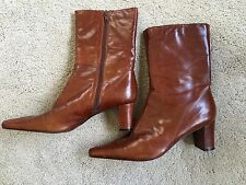 Womens Lady NINE WEST JOYSTICKO Leather Ankle Boot Cowboy Pointy Shoe BROWN 9