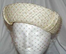 Vintage 1950's Mme. Ester Ivory Woven Hat w/ Brown Veil