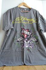 Ed Hardy Men's XXL 2X T-Shirt Gray Love Kills Slowly Skull Heart Yellow Letters