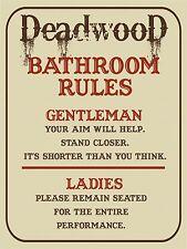 Vintage Retro Style DEADWOOD Bathroom Toilet Rules Metal Wall Door Sign 9x12