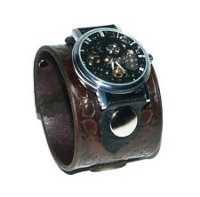 HandStamped BROWN Leather Watch Wrist band Bracelet Steampunk GOTHIC- Mechanical