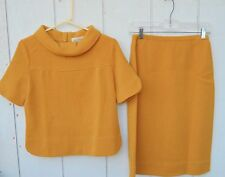 VINTAGE KIMBERLY MOD 60'S GOLD WOOL TWO PEICE TOP  AND SKIRT OUTFIT SIZE MEDIUM