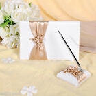 GB04 Ivory with champagne Wedding Guest Book & Pen Set
