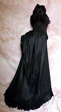 Victorian Gründerzeit Tournüre Kostüm WGT Gothic Taft Jacquard schwarz 3 Größen