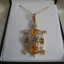 Amethyst/ Citrine/Apatite 'Turtle' Animal Design Multi Gemstone Pendant