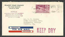 DATED 1951 COVER DALLAS TX AIR MAIL W/KEEP DRY & OFFICIAL NOTICE ON LEFT