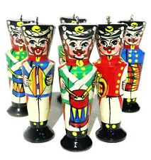 Wooden Soldiers Christmas Ornament Set Russian Hand Carved Painted Collectibles