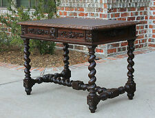 Antique French Oak BARLEY TWIST Writing Desk Sofa Entry Hall Table Leather Top