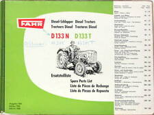 1960 TRACTEUR FAHR DIESEL D133N D133T  CATALOGUE DE PIECES MULTILANGUES