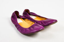 Lanvin Purple Leather Scrunchy Ballet Flats
