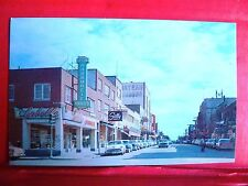 Postcard Canada Quebec Rouyn Noranda 1950's Main Street View Old Cars & Stores