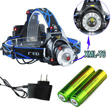 5000LM T6 CREE Tactical Police XM-L LED Zoom Head Lamp Headlight + 18650 Charger