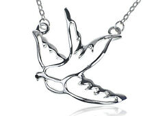 Peace Sparrow Dove Flying Bird Cut Out Silver Tone Metallic Pendant Necklace