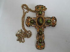 VINTAGE PIN/BROOCH or ENHANCER* Large CROSS in AUTUMN GREENS & GOLDS*sparkle*