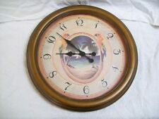 """Kirch 19"""" Palm Trees & Tropical Parrots Design Round Wall Clock Wood Rim"""