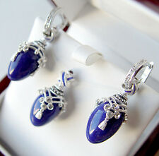 SALE !  SUPERB ENAMEL EGG PENDANT & EARRINGS SET STERLING SILVER GENUINE LAPIS