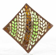 Autumn Inspirations Lyrical Leaves Mosaic Glass Candle Tray Yankee Candle NEW