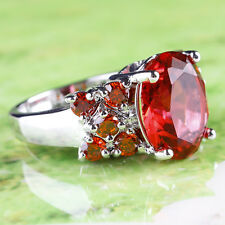 Noble Bridal Wedding Engagement Ruby Spinel Gemstones Silver Ring Size 6 Jewelry