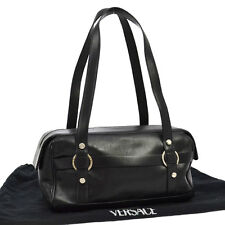 Authentic GIANNI VERSACE Logos Medusa Shoulder Bag Black Leather Vintage V01163