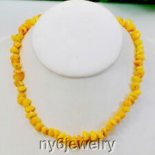 Ny6design Golden Natural Amber Nugget Knot Necklace 17.5''