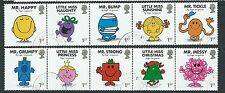 GREAT BRITAIN 2016 MR. MEN AND LITTLE MISS SET OF 10 IN 2 STRIPS FINE USED