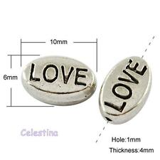 "15 Antique Silver ""Love"" Charm Oval Spacer Beads 10 x 6mm"