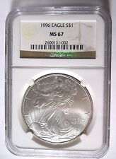 1996 $1 NGC MS67 Silver American Eagle 2600131-002.