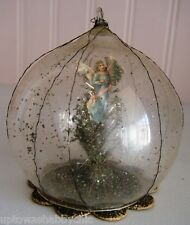 Vtg Wire Wrapped Celluloid? Diorama Ornament Scrap Paper Angel Tinsel Tree Mica