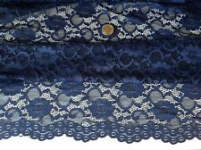 """NEW Designer Navy Stretch Floral Corded Lace Fabric 59""""150cm Double Scalp Border"""