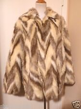 Womans Not Fur Real by DUFFEL Faux Fur Beige & Off White Jacket Coat Size M
